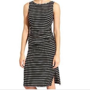 Athleta Black White Striped Ruched Sunkissed Dress
